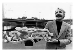 1981:  Harold Balazs shows his model for the 'Centennial Sculpture'.
