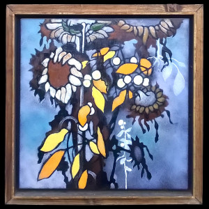 "Harold-Balazs-ART Untitled Sunflowers 2 - Enamel - 22""x22"" - ca 80's"
