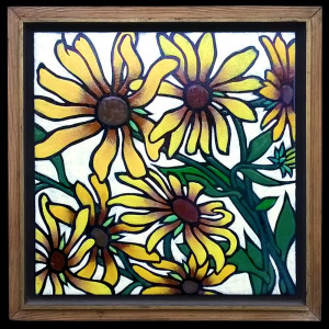 "Harold-Balazs-ART Untitled Sunflowers 3 - Enamel - 22""x22"" - ca. 80's"