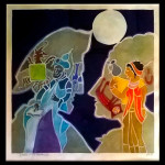"Harold-Balazs-ART Lovers in the Moonlight- Print - Watercolor - 22""x22"" ca. 90's"