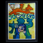 "Harold-Balazs-ART Mario Finds a Place in History - Acrylic on Paper - 33""x25-1/2"" - 1996"