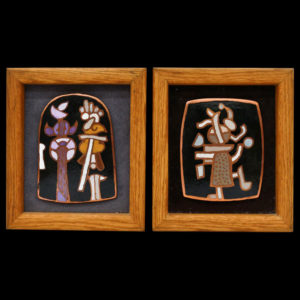 "Harold Balazs - ART - 2pc Small Enamels - Enamel on Steel - 5"" x 4"" (x2) - 1999 Small Enameled Plaques 5''x4'' Each Approx. Includes ''Tentative Couple'' 1999 and ''Small Statue'' 1999 works. Framed 7.5''x6.5'' each. Signed on verso. Excellent condition."